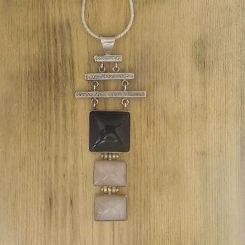 Designer Black Onyx & Rose Quartz Pendant